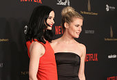 Actors Krysten Ritter and Rachael Taylor attend the 2016 Weinstein Company and Netflix Golden Globe Awards After Party at The Beverly Hilton on...