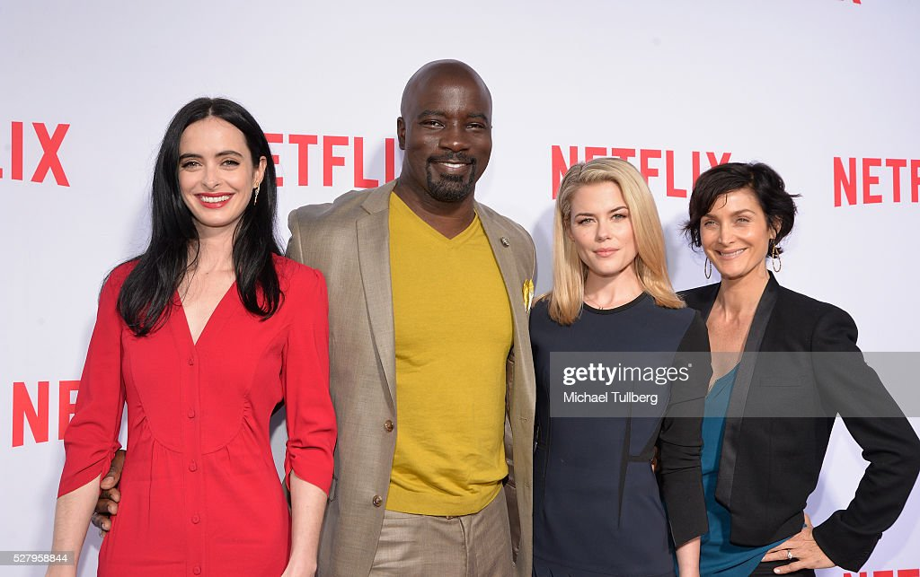 Actors <a gi-track='captionPersonalityLinkClicked' href=/galleries/search?phrase=Krysten+Ritter&family=editorial&specificpeople=655673 ng-click='$event.stopPropagation()'>Krysten Ritter</a>, <a gi-track='captionPersonalityLinkClicked' href=/galleries/search?phrase=Mike+Colter&family=editorial&specificpeople=2649251 ng-click='$event.stopPropagation()'>Mike Colter</a>, <a gi-track='captionPersonalityLinkClicked' href=/galleries/search?phrase=Rachael+Taylor+-+Schauspielerin&family=editorial&specificpeople=544685 ng-click='$event.stopPropagation()'>Rachael Taylor</a> and <a gi-track='captionPersonalityLinkClicked' href=/galleries/search?phrase=Carrie-Anne+Moss&family=editorial&specificpeople=225080 ng-click='$event.stopPropagation()'>Carrie-Anne Moss</a> attend a For Your Consideration screening and Q&A for the Netflix Original Series' 'Marvel's Jessica Jones' at Paramount Studios on May 3, 2016 in Hollywood, California.