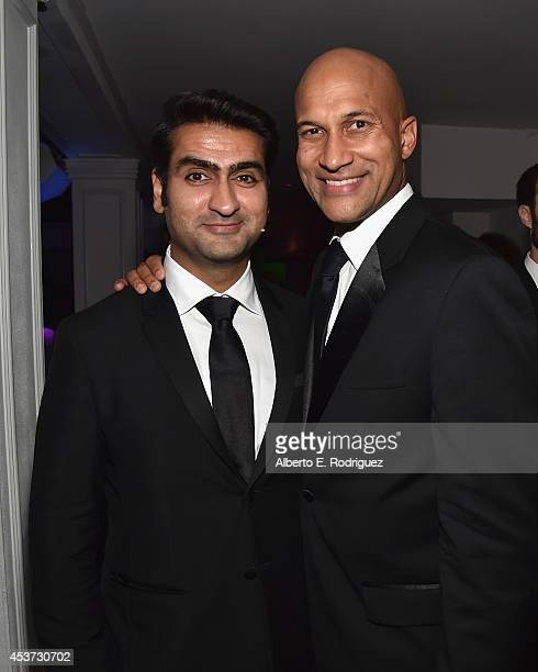 Actors Kumail Nanjiani and KeeganMichael Key attend Comedy Central's Creative Arts Emmy after party at Boulevard3 on August 16 2014 in Hollywood...