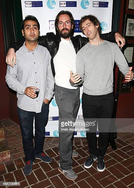 Actors Kumail Nanjiani Martin Starr and Thomas Middleditch attend The Detroit Party benfitting The Detroit Creativity project at Largo At The Coronet...