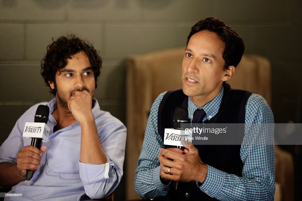 Actors <a gi-track='captionPersonalityLinkClicked' href=/galleries/search?phrase=Kunal+Nayyar&family=editorial&specificpeople=4414736 ng-click='$event.stopPropagation()'>Kunal Nayyar</a> (L) and <a gi-track='captionPersonalityLinkClicked' href=/galleries/search?phrase=Danny+Pudi&family=editorial&specificpeople=6106772 ng-click='$event.stopPropagation()'>Danny Pudi</a> attend the Variety Emmy Studio at Palihouse on May 29, 2013 in West Hollywood, California.