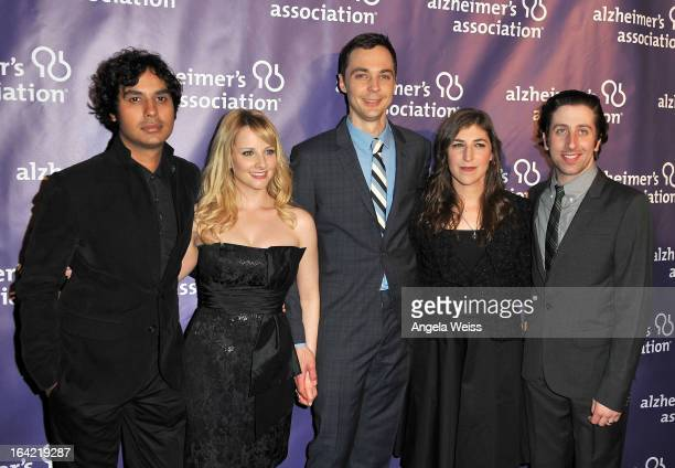Actors Kunal Nayyar Melissa Rauch Jim Pasons Mayim Bialik and Simon Helberg arrive at the 21st Annual 'A Night At Sardi's' to benefit the Alzheimer's...