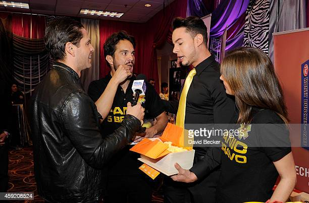 Actors Kuno Becker and Aurora Papile attend the gift lounge during the 15th annual Latin GRAMMY Awards at the MGM Grand Garden Arena on November 18...