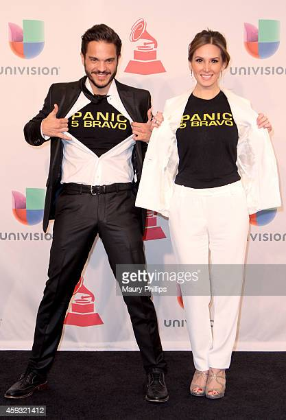 Actors Kuno Becker and Papile Aurora pose in the press room during the 15th annual Latin GRAMMY Awards at the MGM Grand Garden Arena on November 20...