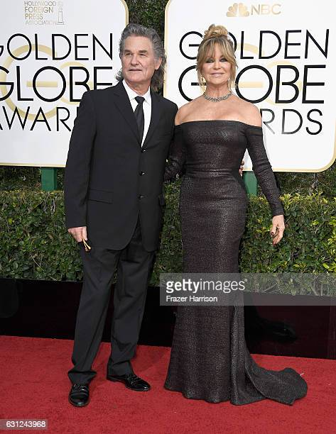 Actors Kurt Russell and Goldie Hawn attend the 74th Annual Golden Globe Awards at The Beverly Hilton Hotel on January 8 2017 in Beverly Hills...