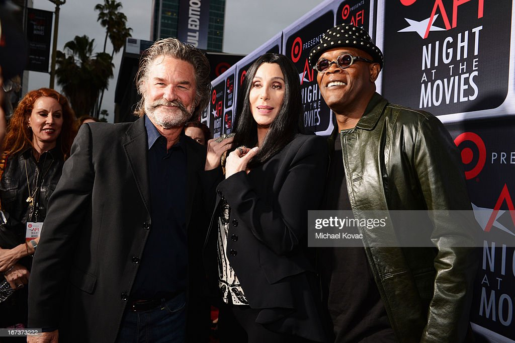 Actors <a gi-track='captionPersonalityLinkClicked' href=/galleries/search?phrase=Kurt+Russell&family=editorial&specificpeople=206294 ng-click='$event.stopPropagation()'>Kurt Russell</a>, Cher and <a gi-track='captionPersonalityLinkClicked' href=/galleries/search?phrase=Samuel+L.+Jackson&family=editorial&specificpeople=167234 ng-click='$event.stopPropagation()'>Samuel L. Jackson</a> arrive on the red carpet for Target Presents AFI's Night at the Movies at ArcLight Cinemas on April 24, 2013 in Hollywood, California.