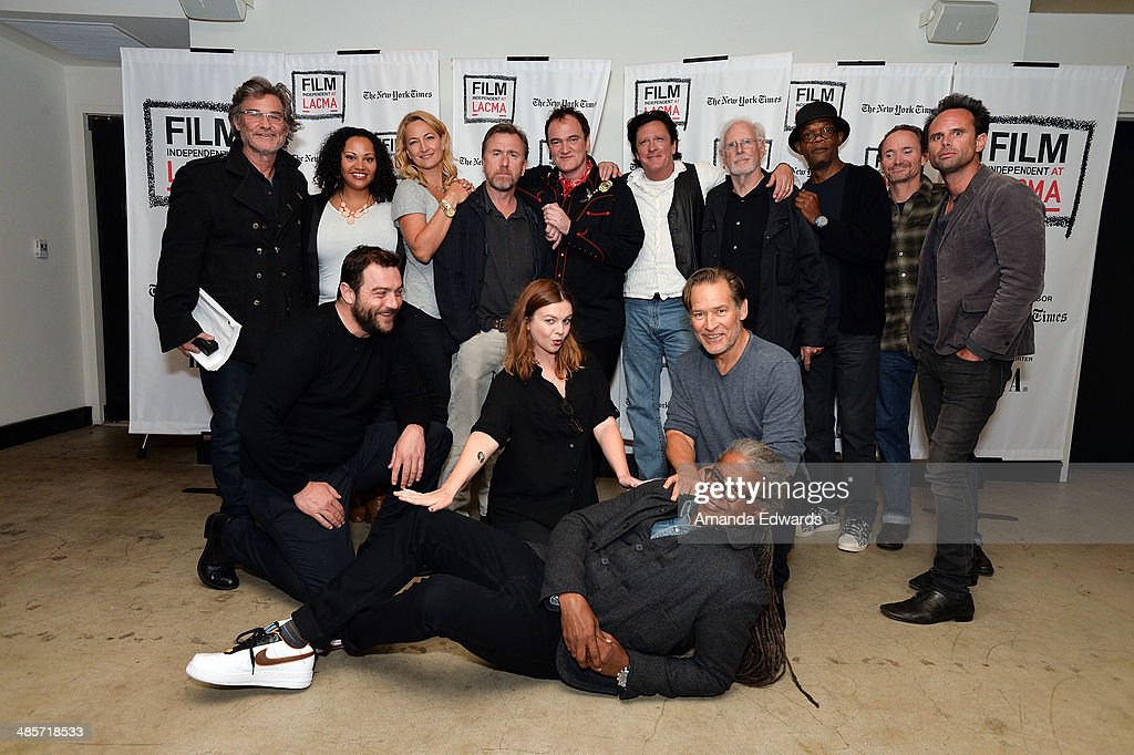 Actors Kurt Russell, Dana Gourrier, Zoe Bell and Tim Roth, director Quentin Tarantino and actors Michael Madsen, Bruce Dern, Samuel L. Jackson, James Parks, Walton Goggins and James Remar, film curator Elvis Mitchell and actors Amber Tamblyn and Denis Menochet pose before participating in the world premiere of a staged reading by Quentin Tarantino: 'The Hateful Eight' presented by Film Independent at The Theatre at Ace Hotel Downtown LA on April 19, 2014 in Los Angeles, California.