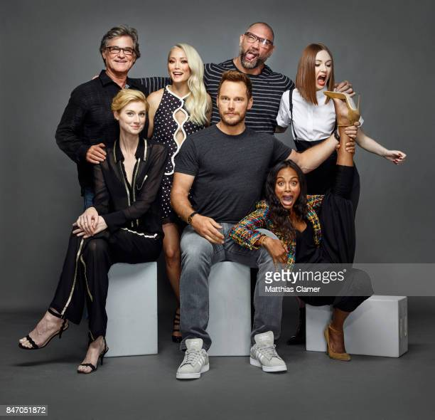 Actors Kurt Russell Elizabeth Debicki Pom Klementieff Chris Pratt Dave Bautista Zoe Saldana and Karen Gillan from 'Guardians of the Galaxy Vol 2' are...