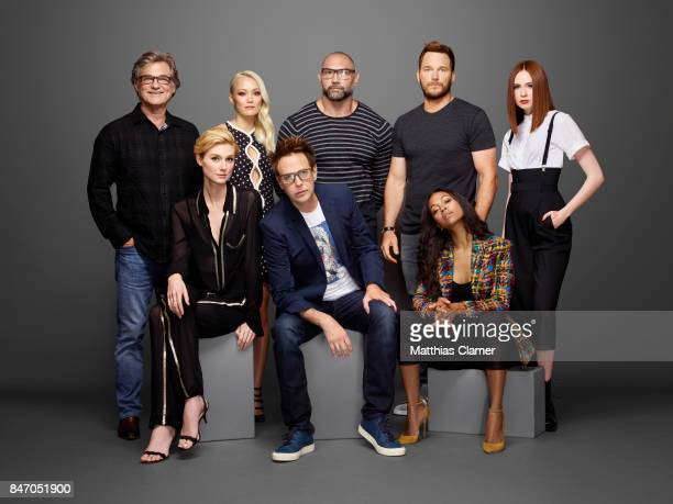 Actors Kurt Russell Elizabeth Debicki Pom Klementieff Chris Pratt Dave Bautista Zoe Saldana and Karen Gillan with director James Gunn from 'Guardians...