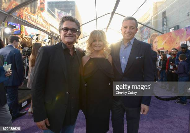 "Actors Kurt Russell Goldie Hawn and Chief Executive Officer of Disney Bob Iger at The World Premiere of Marvel Studios' ""Guardians of the Galaxy Vol..."