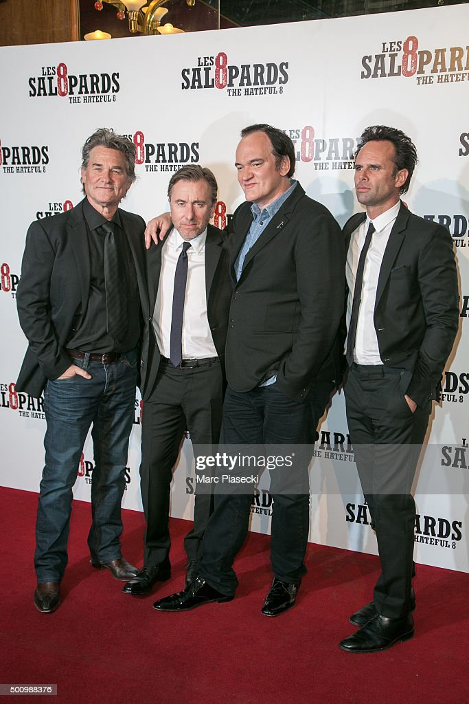 Actors Kurt Russell; Tim Roth; director Quentin Tarantino and actor Walton Goggins attend the 'The Hateful Eight' Premiere at Le Grand Rex on December 11, 2015 in Paris, France.
