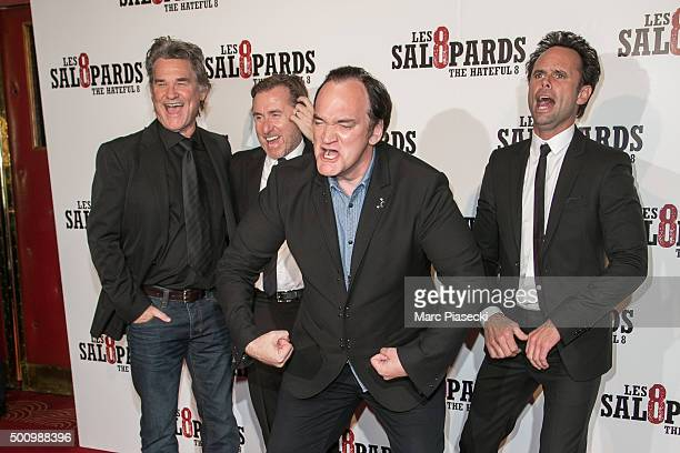 Actors Kurt Russell Tim Roth director Quentin Tarantino and actor Walton Goggins attend the 'The Hateful Eight' Premiere at Le Grand Rex on December...