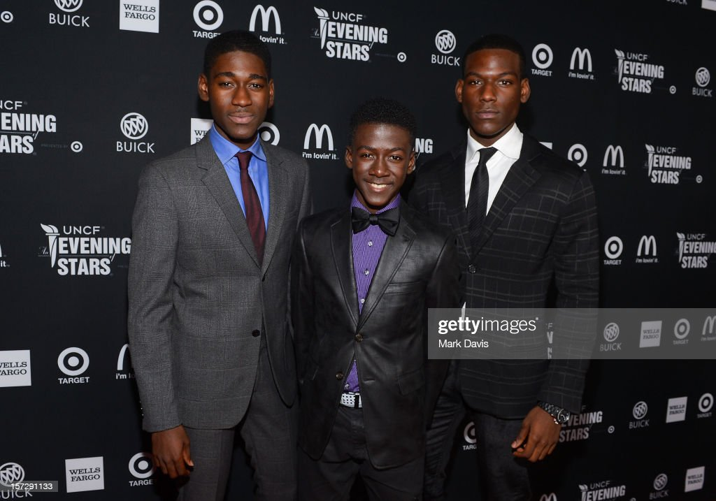 Actors Kwame Boateng, Kwesi Boakye and Kofi Siriboe arrive at UNCF's 34th Annual An Evening Of Stars held at Pasadena Civic Auditorium on December 1, 2012 in Pasadena, California.