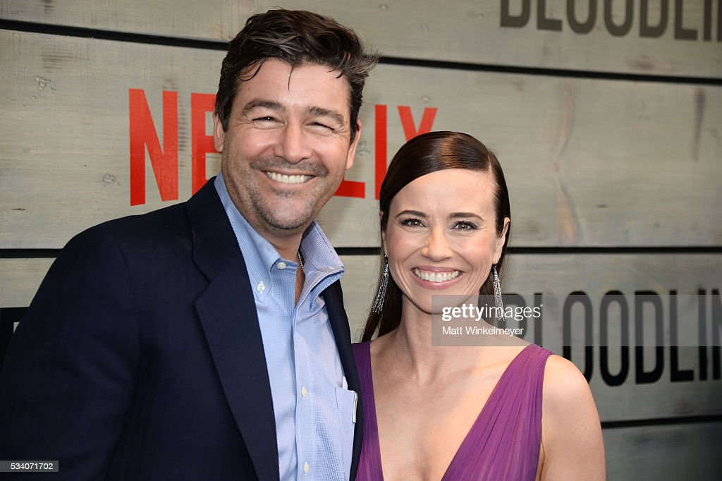 Actors Kyle Chandler (L) and Linda Cardellini attend the Premiere of Netflix's 'Bloodline' at Westwood Village Theatre on May 24, 2016 in Westwood, California.
