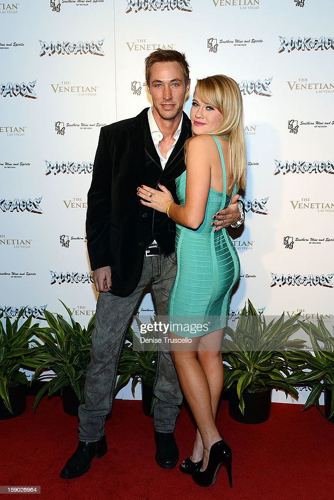Actors Kyle Lowder and Carrie St. Louis arrives at the Rock of Ages opening at The Venetian on January 5, 2013 in Las Vegas, Nevada.