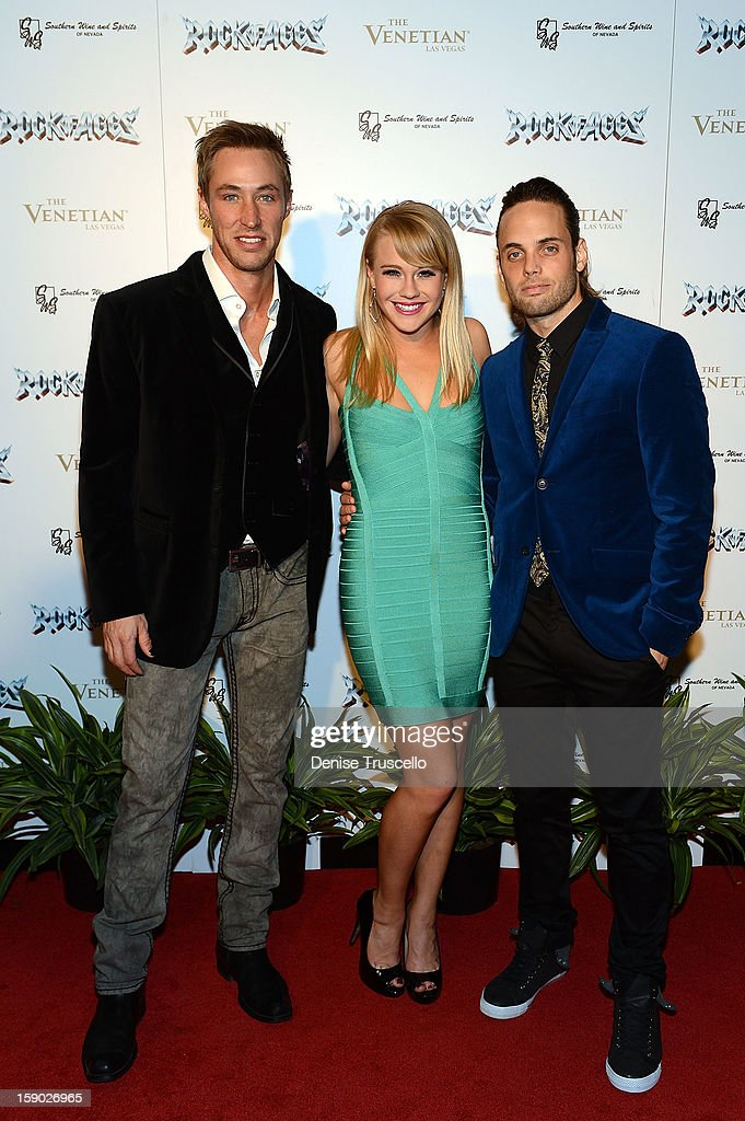 Actors Kyle Lowder, Carrie St. Louis and Justin Mortelliti arrive at the Rock of Ages opening at The Venetian on January 5, 2013 in Las Vegas, Nevada.