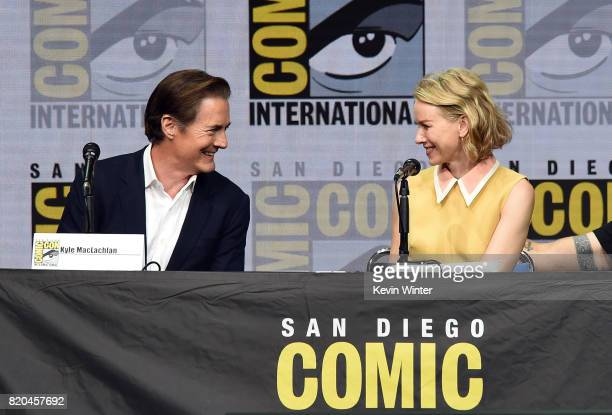 Actors Kyle MacLachlan and Naomi Watts speak onstage at ComicCon International 2017 Twin Peaks A Damn Good Panel at San Diego Convention Center on...