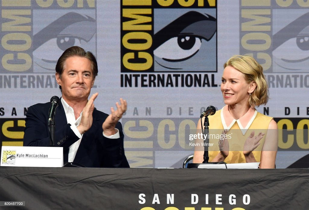 Actors Kyle MacLachlan (L) and Naomi Watts speak onstage at Comic-Con International 2017 Twin Peaks: A Damn Good Panel at San Diego Convention Center on July 21, 2017 in San Diego, California.