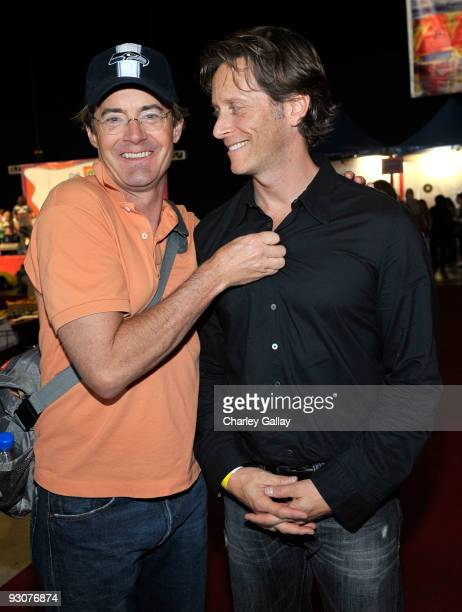 Actors Kyle MacLachlan and Stephen Weber attend PS Arts Express Yourself 2009 at Barker Hangar at the Santa Monica Airport on November 15 2009 in...