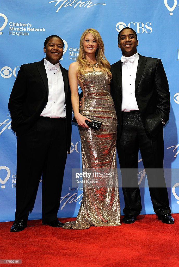 Actors <a gi-track='captionPersonalityLinkClicked' href=/galleries/search?phrase=Kyle+Massey+-+Actor+-+Born+1991&family=editorial&specificpeople=540280 ng-click='$event.stopPropagation()'>Kyle Massey</a>, Kim Matula and Christopher Massey pose in the press room at the 38th Annual Daytime Entertainment Emmy Awards held at the Las Vegas Hilton on June 19, 2011 in Las Vegas, Nevada.