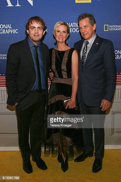 Actors Kyle S More Cynthia Nixon and Tim Matheson attend the 'Killing Reagan' Washington DC premiere at The Newseum on October 6 2016 in Washington DC