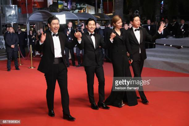 Actors Kyounggu Sul Yim Siwan HyeJin Jeon and Kim Heewon attend the 'The Merciless ' screening during the 70th annual Cannes Film Festival at Palais...