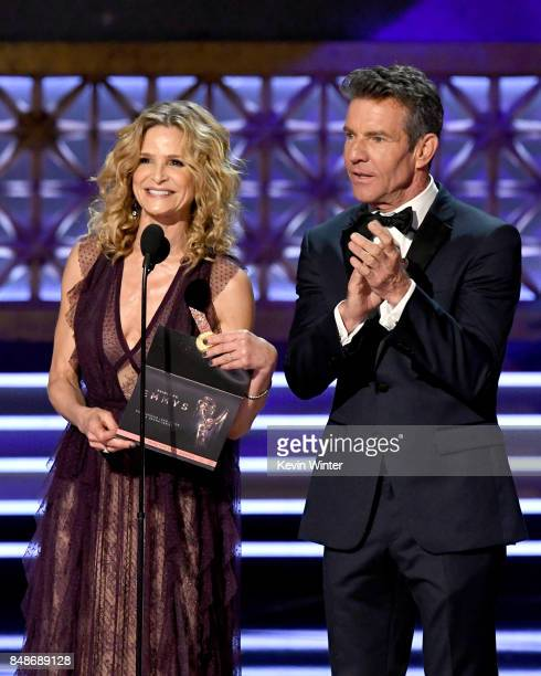 Actors Kyra Sedgwick and Dennis Quaid speak onstage during the 69th Annual Primetime Emmy Awards at Microsoft Theater on September 17 2017 in Los...