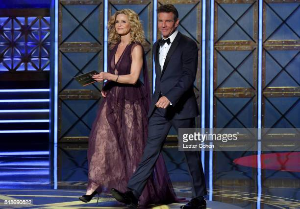 Actors Kyra Sedgwick and Dennis Quaid walk onstage during the 69th Annual Primetime Emmy Awards at Microsoft Theater on September 17 2017 in Los...