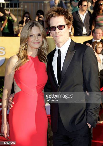 Actors Kyra Sedgwick and Kevin Bacon arrive at the 18th Annual Screen Actors Guild Awards held at The Shrine Auditorium on January 29 2012 in Los...