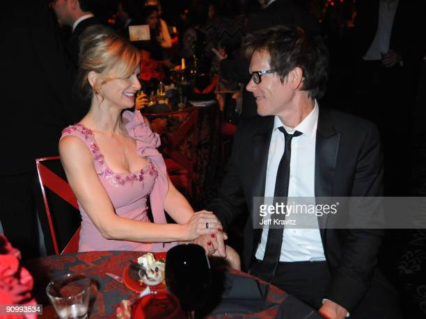 Actors Kyra Sedgwick and Kevin Bacon attend HBO's post Emmy Awards reception at the Pacific Design Center on September 20 2009 in West Hollywood...