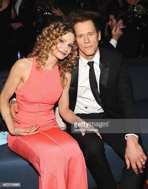 Actors Kyra Sedgwick and Kevin Bacon attend the 2014 InStyle And Warner Bros 71st Annual Golden Globe Awards PostParty at The Beverly Hilton Hotel on...