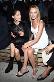Actors Laetitia Casta and Uma Thurman attend the Givenchy fashion show during Spring 2016 New York Fashion Week at Pier 26 at Hudson River Park on...