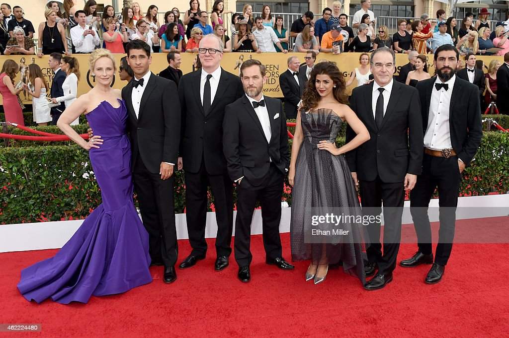 Actors Laila Robins Raza Jaffrey Tracy Letts Maury Sterling Nimrat Kaur Mandy Patinkin and Numan Acar of 'Homeland' attend the 21st Annual Screen...