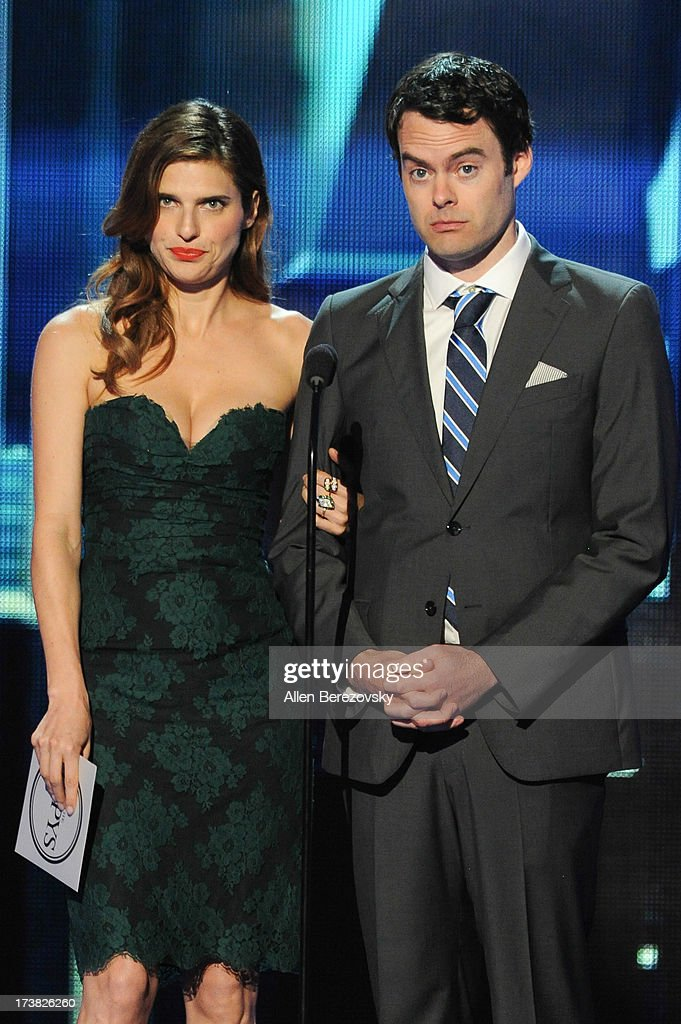 Actors Lake Bell (L) and Bill Hader speak on stage at the 2013 ESPY Awards at Nokia Theatre L.A. Live on July 17, 2013 in Los Angeles, California.