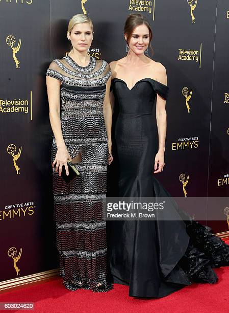 Actors Lake Bell and Erinn Hayes attend the 2016 Creative Arts Emmy Awards at Microsoft Theater on September 11 2016 in Los Angeles California