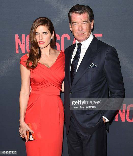 Actors Lake Bell and Pierce Brosnan attend the premiere of the Weinstein Company's 'No Escape' at Regal Cinemas LA Live on August 17 2015 in Los...