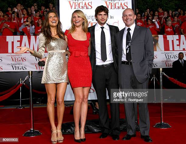 Actors Lake Bell Cameron Diaz Ashton Kutcher and actor Rob Corddry arrive at the premiere of ''What Happens In Vegas'' on May 1 2008 in Westwood...