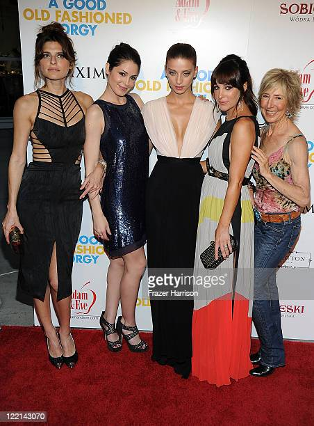 Actors Lake Bell Michelle Borth Angela Sarafyan Lindsay Sloane and Lin Shaye attend the screening of Samuel Goldwyn Films' 'A Good Old Fashioned...