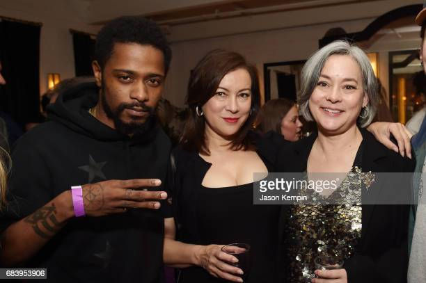 Actors Lakeith Stanfield Jennifer Tilly and Meg Tilly attend a special screening of the Netflix original film 'War Machine' at The Metrograph on May...