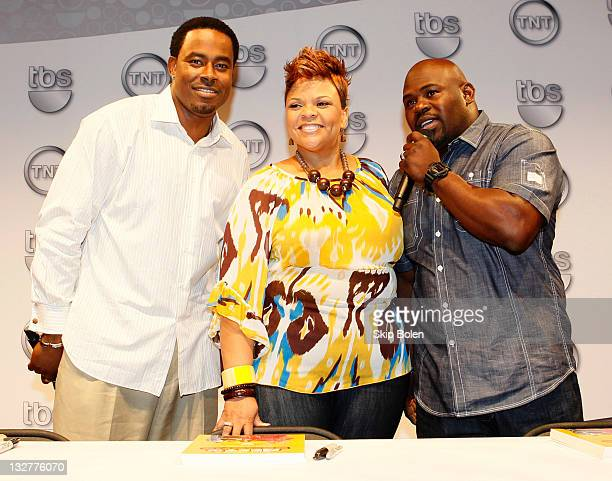 Actors Lamman Rucker Tamela Mann and David Mann of the TBS show 'Meet the Browns' attend the TNT 2011 Essence Festival Day 1 on July 1 2011 in New...
