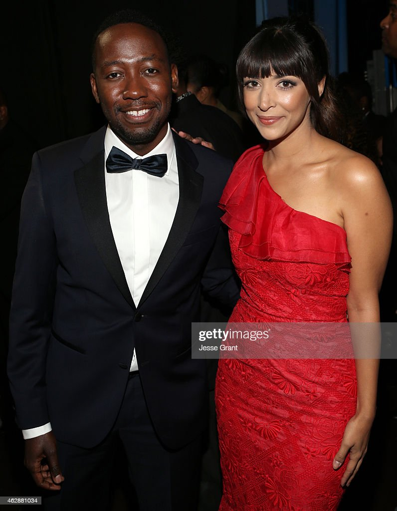 Actors Lamorne Morris and Hannah Simone attend the 46th NAACP Image Awards presented by TV One at Pasadena Civic Auditorium on February 6 2015 in...
