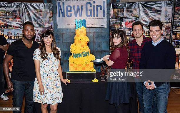 Actors Lamorne Morris Hannah Simone Zooey Deschanel Jake Johnason and Max Greenfield attend FOX's 'New Girl' 100th Episode Cake Cutting' held at Fox...