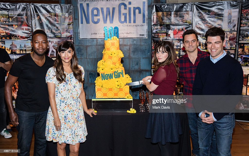 Actors Lamorne Morris, Hannah Simone, Zooey Deschanel, Jake Johnason and Max Greenfield attend FOX's 'New Girl' 100th Episode Cake Cutting' held at Fox Studio Lot on December 2, 2015 in Century City, California.