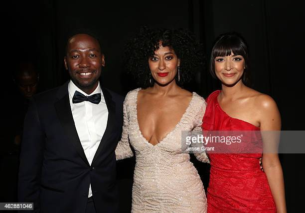 Actors Lamorne Morris Tracee Ellis Ross and Hannah Simone attend the 46th NAACP Image Awards presented by TV One at Pasadena Civic Auditorium on...