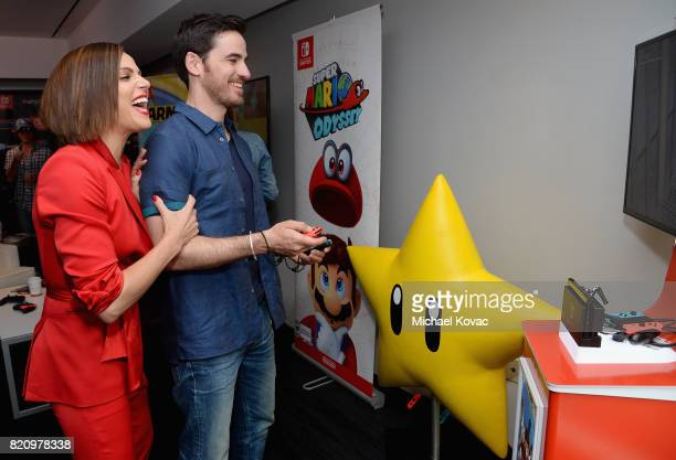 Actors Lana Parrilla and Andrew J West from the television series 'Once Upon A Time' stopped by Nintendo at the TV Insider Lounge to check out...