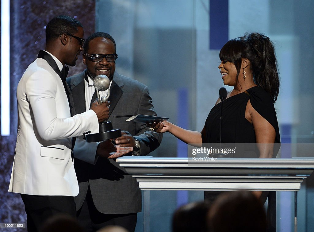 Actors Lance Gross, Cedric the Entertainer, and Niecy Nash onstage during the 44th NAACP Image Awards at The Shrine Auditorium on February 1, 2013 in Los Angeles, California.