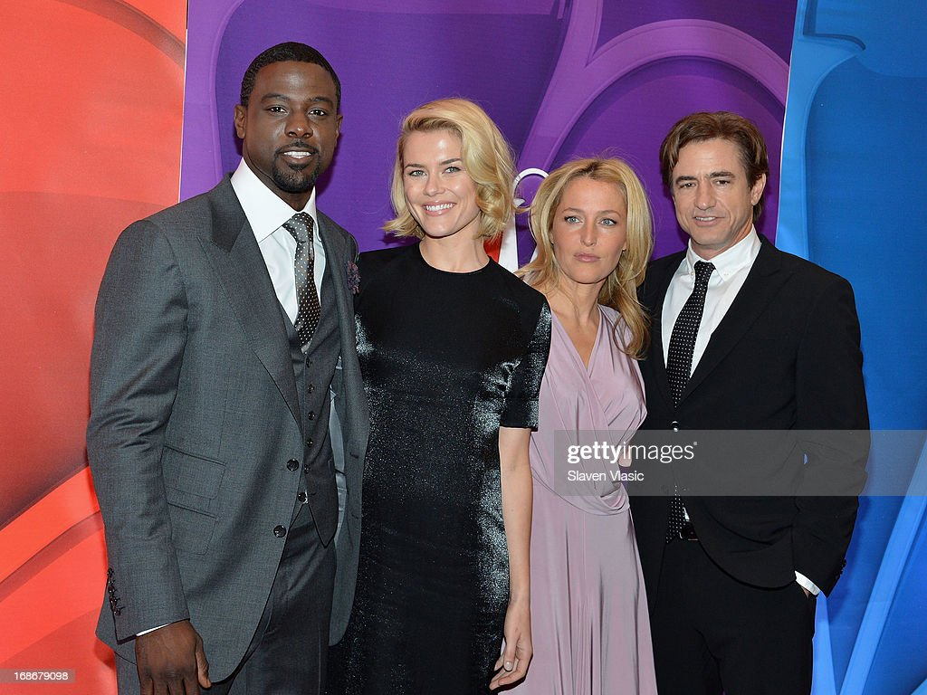 Actors Lance Gross, Rachael Taylor, Gillian Anderson and Dermot Mulroney attend 2013 NBC Upfront Presentation Red Carpet Event at Radio City Music Hall on May 13, 2013 in New York City.