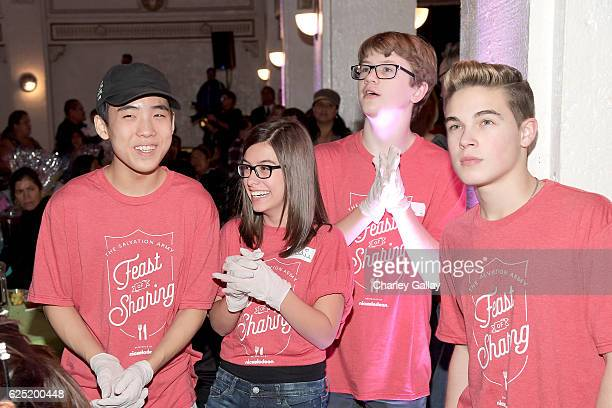 Actors Lance Lim from School of Rock Madisyn Shipman from Game Shakers Aidan Miner from School of Rock and Ricardo Hurtado from Glitch Techs attend...