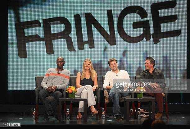 Actors Lance Reddick Anna Torv and Joshua Jackson and Executive Producer JH Wyman speak onstage at the 'Fringe' panel during day 3 of the FOX portion...