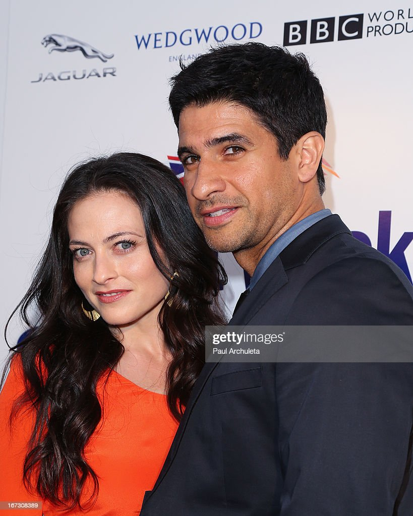 Actors Lara Pulver (L) and <a gi-track='captionPersonalityLinkClicked' href=/galleries/search?phrase=Raza+Jaffrey&family=editorial&specificpeople=2116463 ng-click='$event.stopPropagation()'>Raza Jaffrey</a> (R) attend the 7th annual BritWeek Festival 'A Salute To Old Hollywood' launch party at the British Consul General's Residence on April 23, 2013 in Los Angeles, California.
